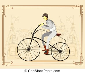 Man on vintage retro old bicycle on old city background....