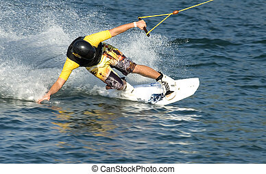 man on water boarding at the sea