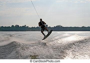 Man on water skiis