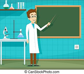 Man on white lab coat is pointing at the blackboard. Chemical laboratory. Stock Vector cartoon illustration.