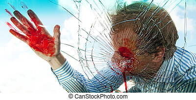 Severely wounded pedestrian hit by a car, being smashed through the windscreen