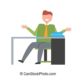 Man on Workplace in Office Vector Illustration