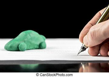 man, ondertekening, een, contracteren, voor, een, groene, eco, auto