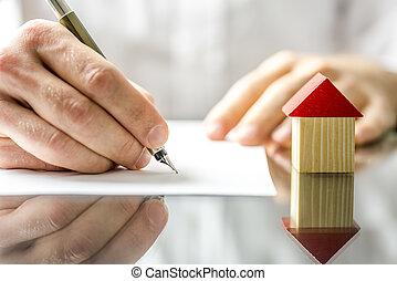 man, ondertekening, een, contracteren, wanneer, aankoop een...