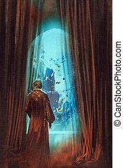 man, onderwater, het kijken, wereld