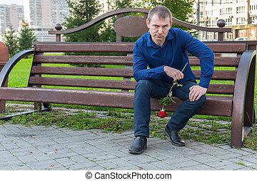 man, onderzoekt, hemd, blauwe , dames, zit, bankje, bloem,...