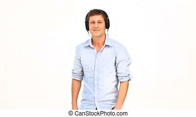 man, ongedwongen, dancing, headphones