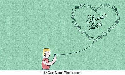 Man online on phone for social media love design