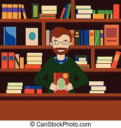 man, op achtergrond, met, bookcase., bibliothecaris, of, boekhandel, verkoper