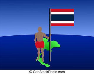 man, op, kaart, van, thailand, met, vlag