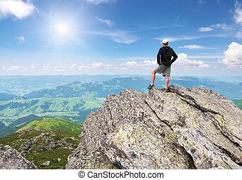 man, op, piek, van, mountain.