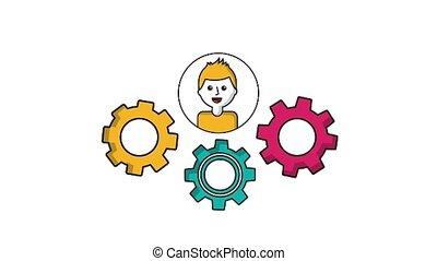 man, op, toestellen, tandrad, vorm een team werk, concept