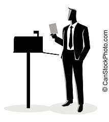 Man opened mailbox receiving a letter - Vector illustration...