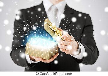 man opening gift box - love, romance, holiday, celebration...