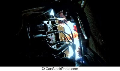 man opens bonnet repair takes the keys to the car car...