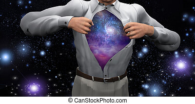 Man opens shirt to reveal the galaxies