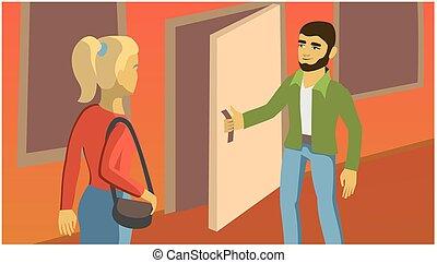 man opens the door for the girl. interpersonal...