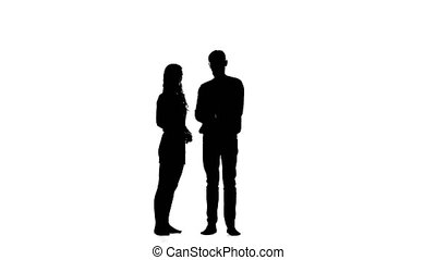 Man opens the umbrella and talks to the girl. White background. Silhouette