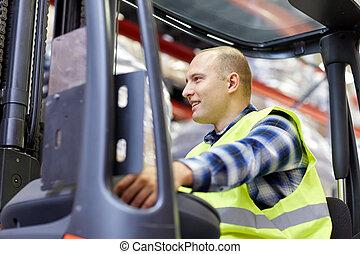 man operating forklift loader at warehouse - wholesale, ...
