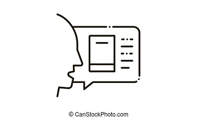 man opinion about book Icon Animation. black man opinion about book animated icon on white background