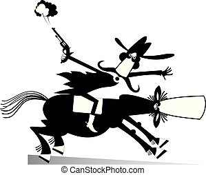 Man or cowboy rides on horse illustration isolated