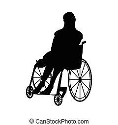 Man or woman in wheelchair silhouette