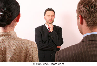 Man or woman ? - Business man is making selection
