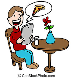 Man Ordering Pizza With His Digital Device at a Restaurant -...