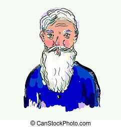 man, oud, illustratie, gebaard