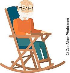 man, oud, vector., zittende , chair., wiegen