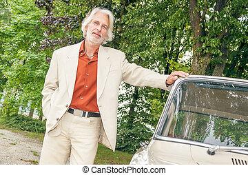 man outdoor car