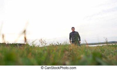 man outdoors playing sports yoga gymnastics sport healthy...