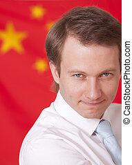 man over china flag