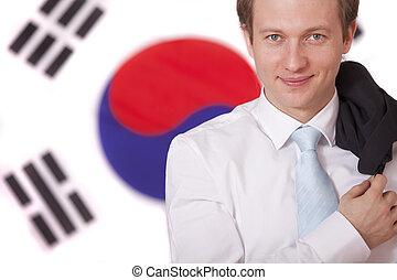 man over south korea flag