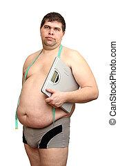 man, overgewicht, schalen