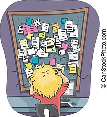 Illustration of a Stressed Out Man Looking at Mountain of Sticky Notes