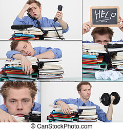 Man overwhelmed at work
