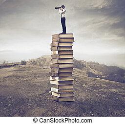 man, på, böcker