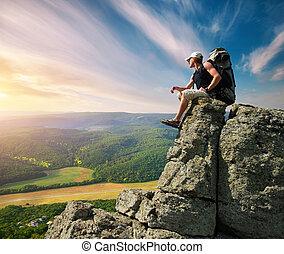 man, på, bergstopp, av, fjäll
