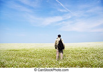 man, på, grön, meadow.