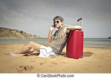 man, på, strand
