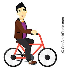 man, paardrijden, bicycle.