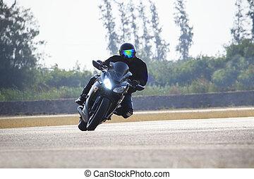 man, paardrijden, motorfiets, op, straat