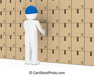 man package wall - little man with blue cap hold package