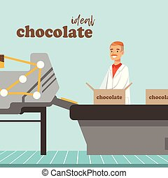 Man packing boxes of chocolate on factory conveyor, male controller controlling the production process vector Illustration