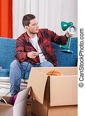 Man packing things