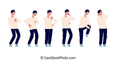 Man pain. Male ill, stomach ache and headache. Healthcare and medicine, guy has backache. Cartoon isolated illness person, sick flu human. Body with problems vector set