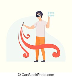 Man painting a picture wearing virtual reality digital glasses, guy using optical device for real visualisation and simulation vector Illustration on a white background