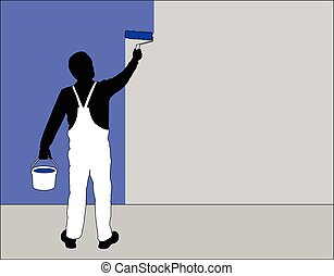 man painting wall with paint roller