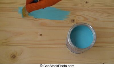 Hand Paint Wooden Block with Brush